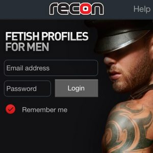 Watersports fetish interest group launch illustrated by Recon login page image of head and shoulders of man with tattoos and wearing a black cap