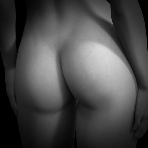 Black and white image of womans bottom to illustrate a blog on face sitting